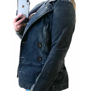 Joie Blue Denim Double Breasted Jean Jacket Small